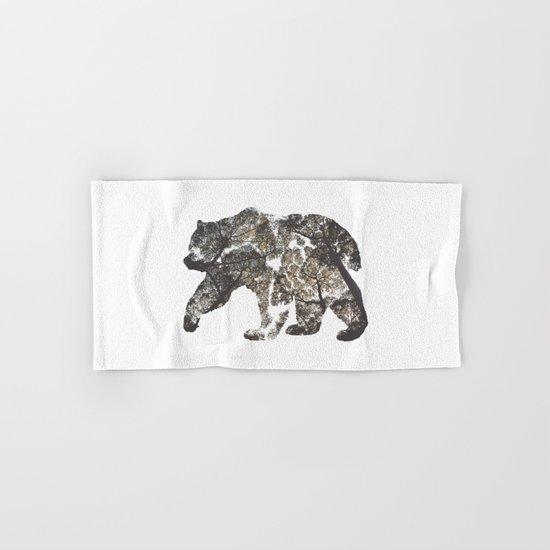 Bear Silhouette With Trees Hand & Bath Towel