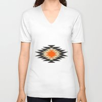 brown V-neck T-shirts featuring Aztec 1 by Aztec