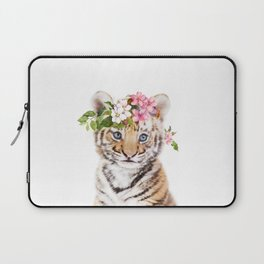 Tiger Cub with Flower Crown Laptop Sleeve