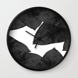 Banana Leaf Black & White II Wall Clock
