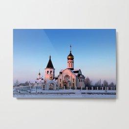 Russian Orthodox church in winter Metal Print