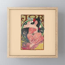Art Nouveau Alphonse Mucha Job Detail Framed Mini Art Print