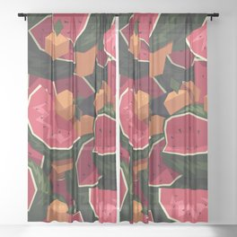 Oranges and watermelons Sheer Curtain