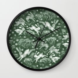 Hares Field, Jumping White Rabbits Winter Holidays Pattern,  Wall Clock