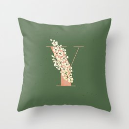 Y for Yellow-Eyed Grass Throw Pillow