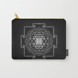 Sri Yantra XI - Black & White Carry-All Pouch