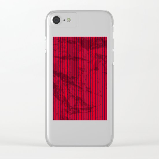 Grunge Blue stripes on bold red background Clear iPhone Case