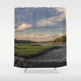 Summer Marsh Sunset Shower Curtain