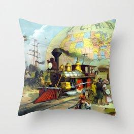 Transcontinental Railroad Throw Pillow