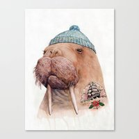 walrus Canvas Prints featuring Tattooed Walrus by Animal Crew