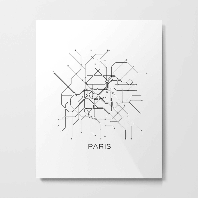 Subway Map Graphic Design.Paris Metro Map Subway Map Paris Metro Graphic Design Black And White Canvas Metropolian Art Metal Print