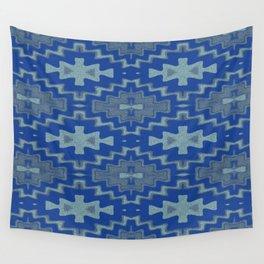 Blue Aztec Rhythmic Pattern Wall Tapestry