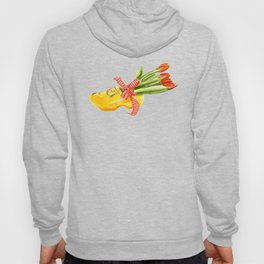 Typical Dutch wooden shoe with tulips Hoody