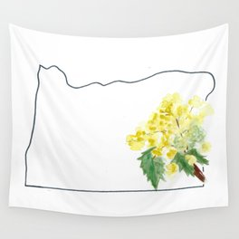 or // oregon grape watercolor state flower map Wall Tapestry