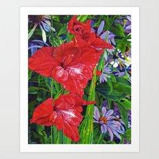 Gladiola's and Echinacea  Art Print
