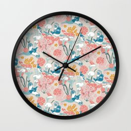 Pheasants and Flowers Wall Clock