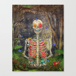 Blooming skeleton in the dark forest  with butterflies Canvas Print