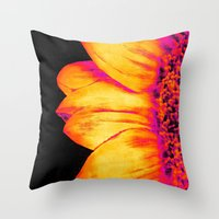 sunflower Throw Pillows featuring Sunflower Pink Yellow by PureVintageLove