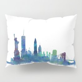 NY New York City Skyline NYC Watercolor art Pillow Sham