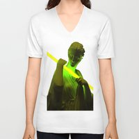 neon V-neck T-shirts featuring Neon by Mike Fernandez