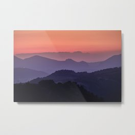 Purple sunset at the mountains. Last night Metal Print