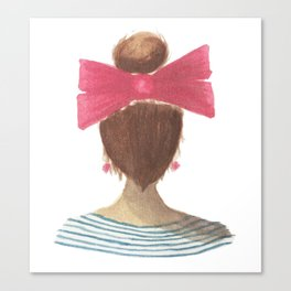 lady in a bow, brunette Canvas Print