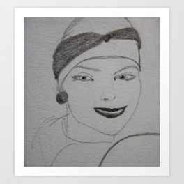 the woman in the beret Art Print
