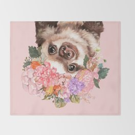 Baby Sloth with Flowers Crown in Pink Throw Blanket