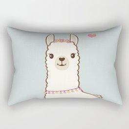 Cute Llama with flower garland Rectangular Pillow
