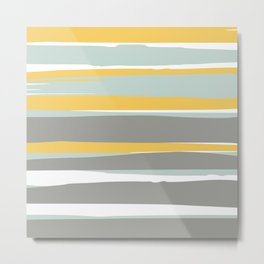 Stripe Abstract, Sun and Beach, Yellow, Pale, Aqua Blue and Gray Metal Print