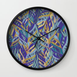 Tropical Leaves, blue and mustard pattern Wall Clock