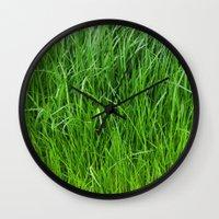grass Wall Clocks featuring grass by Кaterina Кalinich