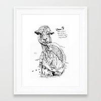 llama Framed Art Prints featuring Llama by ARI(Sunha Jung)