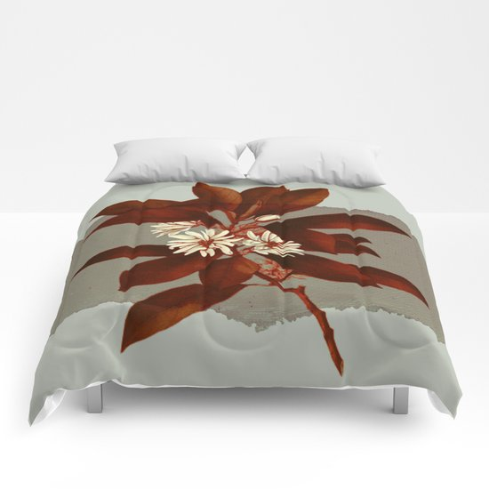 branch and flowers on grey paper Comforters
