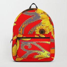 SUNFLOWER RED MODERN ART YELLOW BUTTERFLIES ABSTRACT Backpack