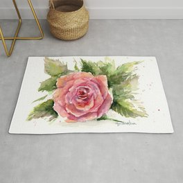 Red Rose Watercolor Pink Rose Flower Floral Art Rug