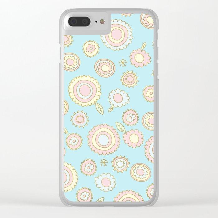Cute Pastel Doodle Flower Pattern Clear iPhone Case