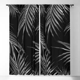 Silver Gray Black Palm Leaves Dream #1 #tropical #decor #art #society6 Blackout Curtain