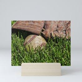 Baseball and Glove on Grass 2 Mini Art Print