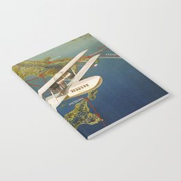 Vintage 1920s Island plane shuttle Italian travel Notebook