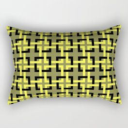 Woven Squares mosaic olive and yellow Rectangular Pillow