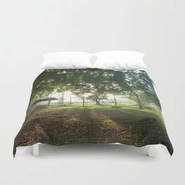 Misty Morning- Queens Park, Maryborough QLD Duvet Cover