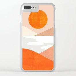 Abstraction_SUNSET_LAKE_Mountains_Minimalism_001 Clear iPhone Case