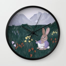 Wildflower Field with Rabbit / Field Notes / Mountain and field of flowers Wall Clock