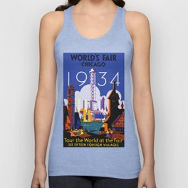 1934 Chicago World's Fair Travel Poster Unisex Tank Top