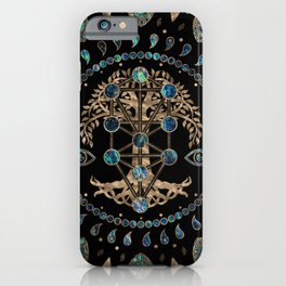 Kabbalah The Tree of Life Abalone and Gold iPhone Case