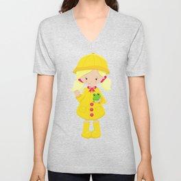 Girl With Blonde Hair, Yellow Raincoat, Frog Unisex V-Neck