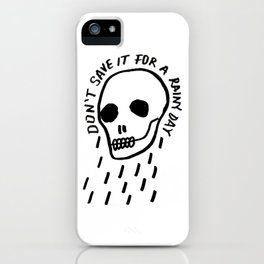 ink black and white skull illustration typography iPhone Case