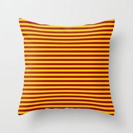 Cardinal and Gold Horizontal Stripes Throw Pillow