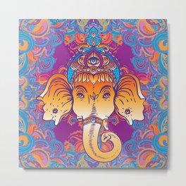 Hindu Lord Ganesha over ornate colorful mandala.  Metal Print